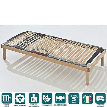 EvergreenWeb - Somier madera ortopédico 85x190 láminas basculantes y Reguladores de dureza, ergonómico, estructura