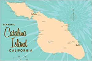 Catalina Island California Map Giclee Art Print Poster by Lakebound 12