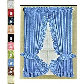 Amazon Com Ruffled Priscilla Fabric Window Curtain Set