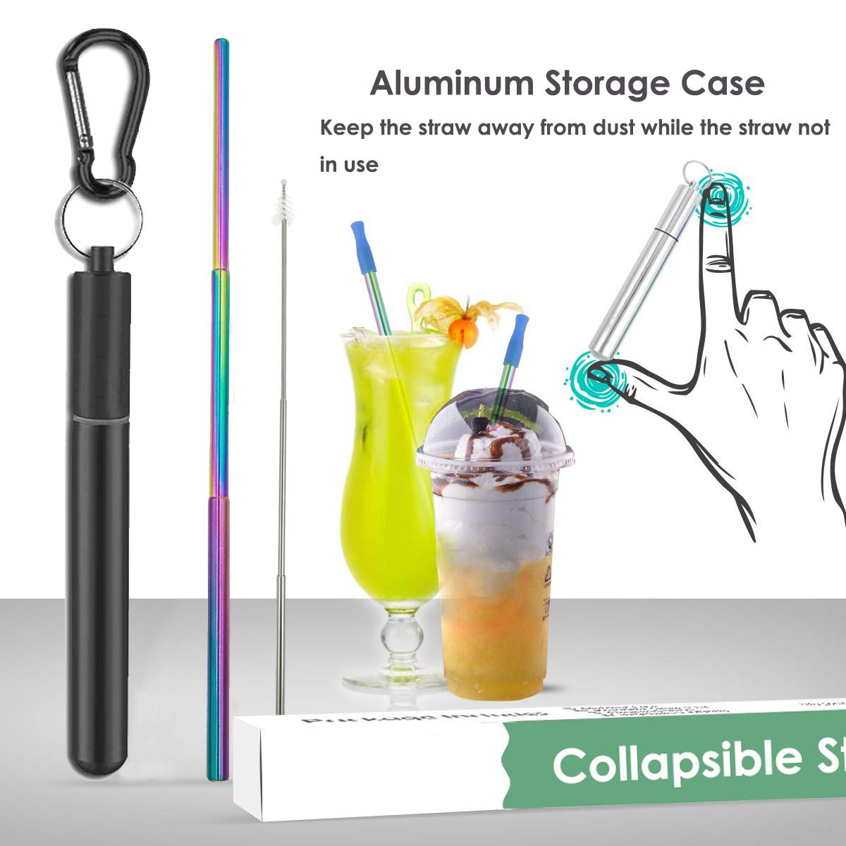 L.Rui Portable Stainless Steel Metal Drinking Foldable Straw with Travel Storage Case /& Cleaning Brush for Adults and Kids 1Pcs Collapsible Reusable Straws