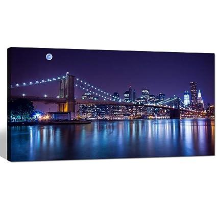 Amazon.com: Sea Charm- Brooklyn Bridge Canvas Wall Art, Large Size ...