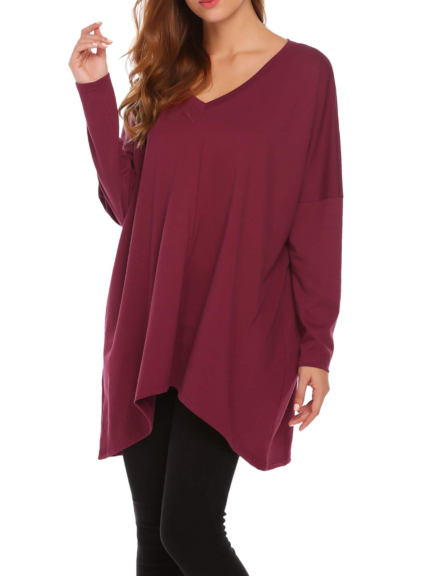 Zeagoo Women's Women Autumn Fashion Oversized Fit Dolman Sleeve Top T-Shirt Wine Red XXL