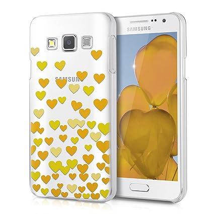 kwmobile Funda para Samsung Galaxy A3 (2015) - Carcasa de [plástico] para móvil - Protector [Trasero] en [Amarillo/Transparente]