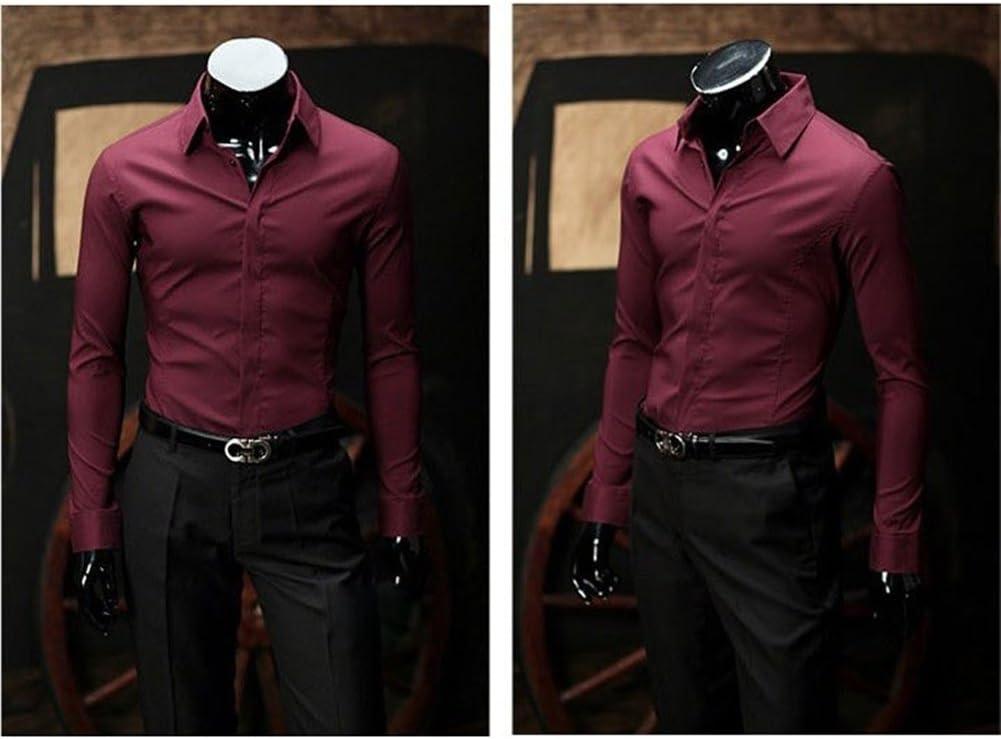 SaySure Hombres Camiseta, Macho Casual Slim Fit Elegante Vestido (Color: Vino Rojo), Hombre: Amazon.es: Deportes y aire libre