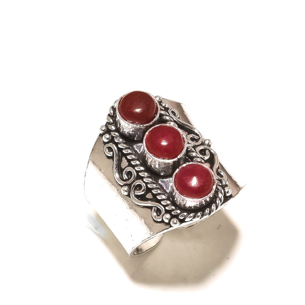 Girls Gift Jewelry Red Dyed Ruby 925 Sterling Silver Plated 11 Grams Ring Size 11 US
