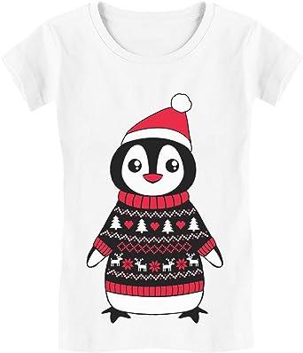 Camiseta de Manga Corta para niñas - - Pingüino Navideño - Adorable Diseño para Navidad: Amazon.es: Ropa y accesorios