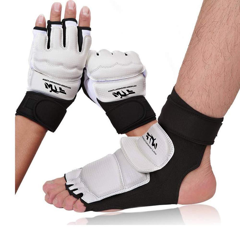 Aibike テコンドー ボクシンググローブ ジム トレーニンググローブ ハンドフットプロテクター レディース メンズ キッズ ガード TKD ボクシングプロテクター WTF空手 B07NPQSPJY  Hand M+Foot M