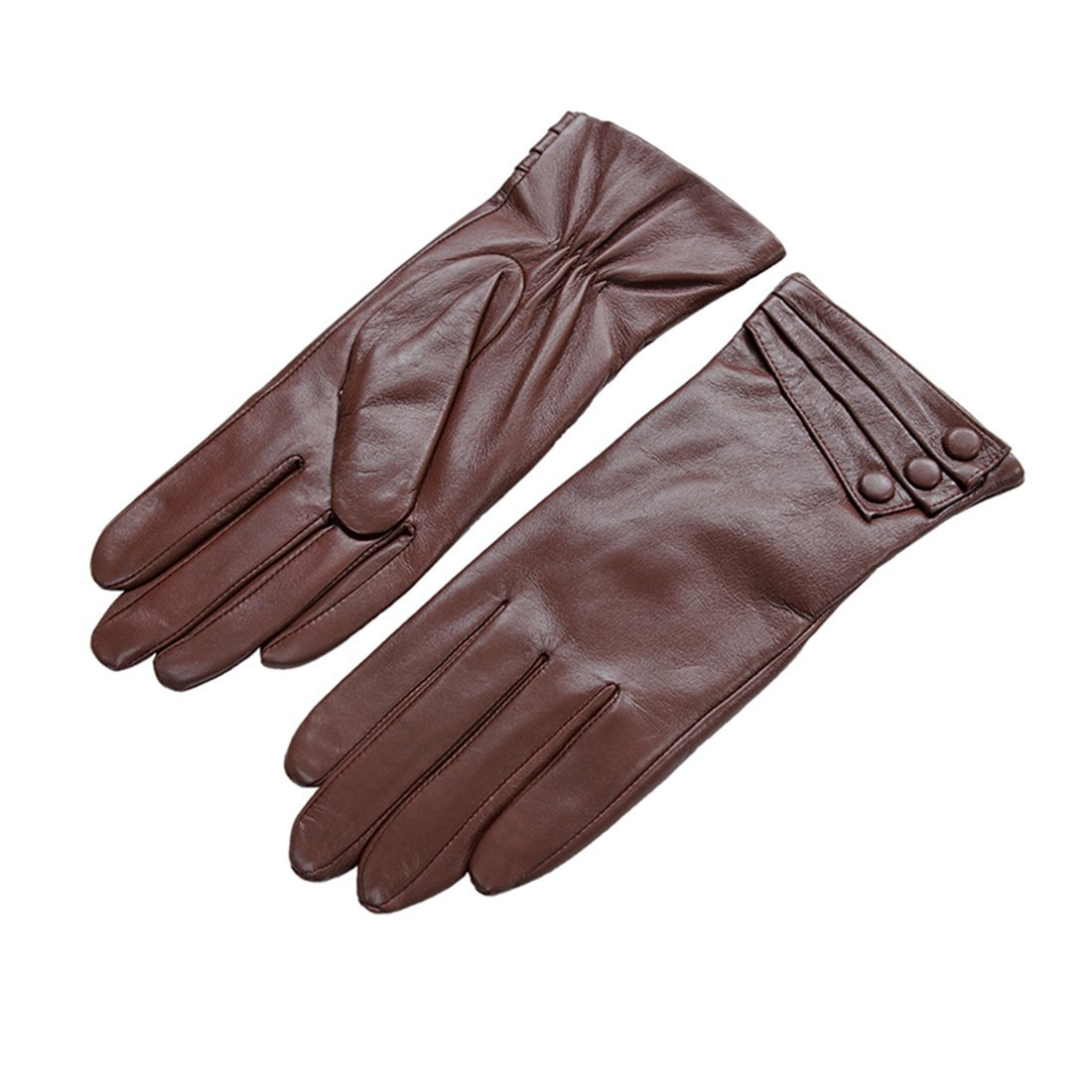 Nappaglo Nappa Leather Gloves Warm Lining Winter Button Decoration Imported Leather Lambskin Gloves for Women (L, Coffee)