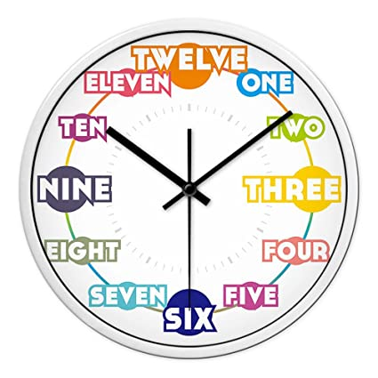 AIZIJI Reloj de Pared Inglés Digital Creativa Sala Mute Reloj de Cuarzo Minimalista Niños Art Deco