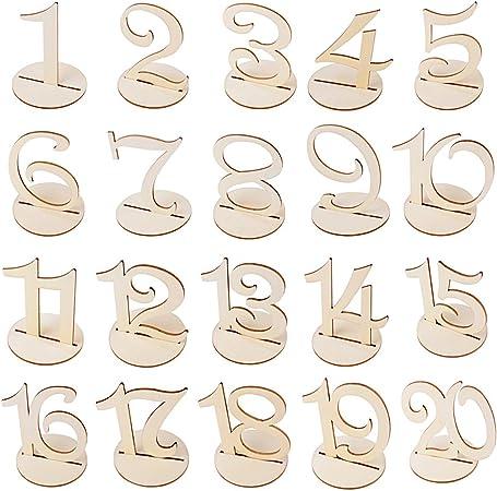 20X Números de Mesa 1-20 para Boda de Madera con Base de Soporte ...