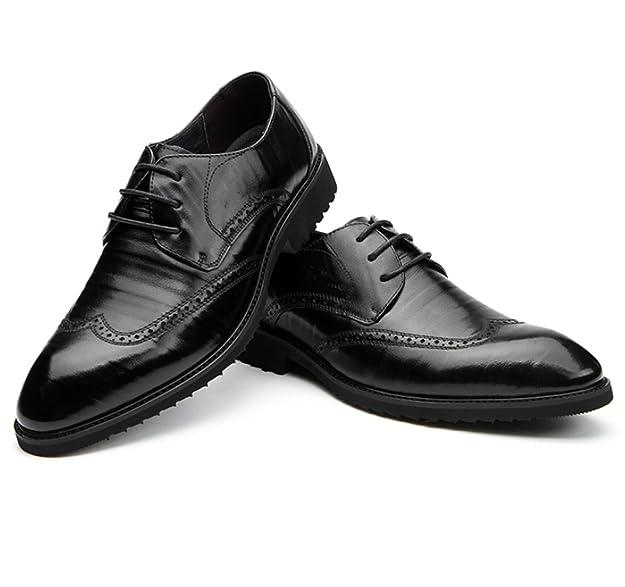 GRRONG Chaussures Pour Hommes Sculpté Business Suits Hommes Cuir Angleterre Chaussures  D hiver,Brown 8266abdfa71d