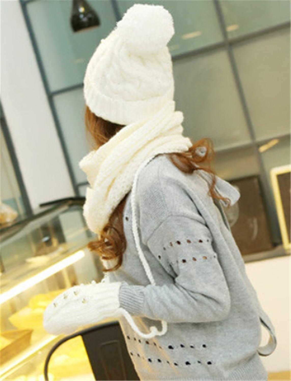 Fashion Warm Hat Scarf Gloves Set Girl Women Fashion Ball Wool Knit Hat