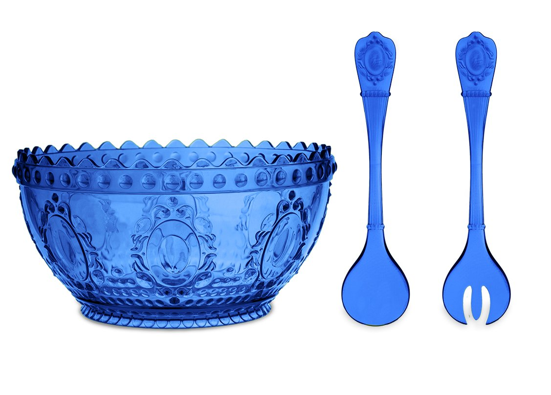 Baci Milano Baroque & Rock Limited Edition Salad Bowl and Thongs Serving Set (Blue)