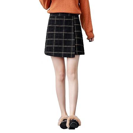 LINSYT Plaid de cintura alta con cintura alta, falda a cuadros de ...