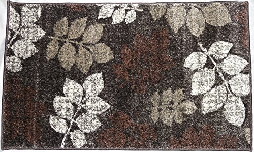 Brown and Beige Contemporary Floral Area Rug Carved Design Amazonia Collection (2' x 3', Brown/Beige) (Amazonia Collection)