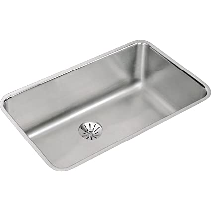 elkay lustertone eluh281610pd single bowl undermount stainless steel kitchen sink with perfect drain - Undermount Stainless Steel Kitchen Sink
