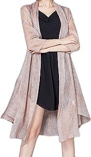 Donna Cardigan Eleganti di Moda Cappotto Estivi Protezione Solare Manica 3/4 Seta Sottile E Lunghe Sezioni Giaccone Monocromo Slim Fit Moda Pareo Tempo Libero Baggy Outwear Tunica Abbigliamento