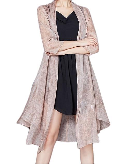 Mujer Cardigan Elegantes Hipster Abrigos Verano Proteccion Solar Mangas 3/4 Silk Delgado Y Largas Secciones Chaqueta Color Sólido Slim Fit Pareos Casuales ...