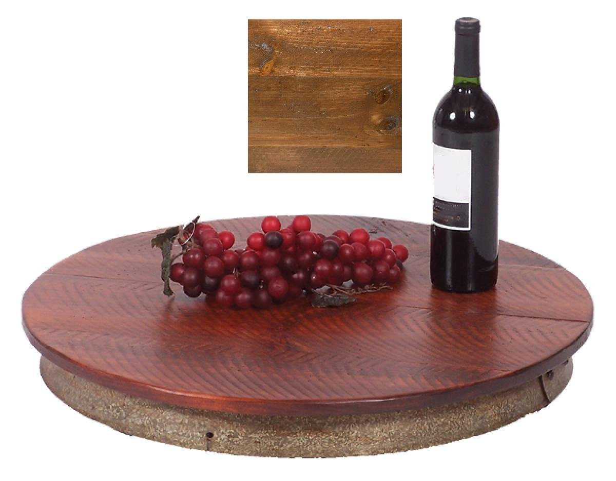 """Handcrafted Wine Barrel Lazy Susan in Pine Stain (23"""") (Pine)"""