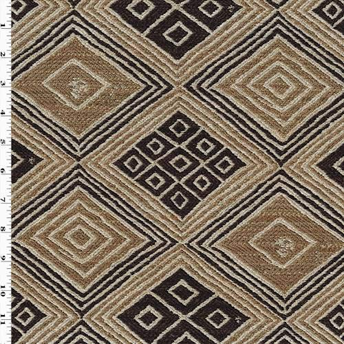 Raffia Gold/Brown Kuba Jacquard Home Decorating Fabric, Fabric by The Yard