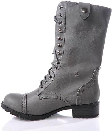 Grey Combat Boots Women