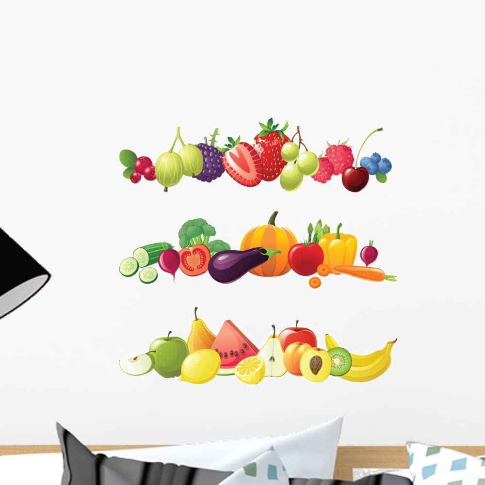 Wallmonkeys FOT-33091637-18 WM138735 Fruits Vegetables and Berries Borders Peel and Stick Wall Decals H x 18 in W, 18