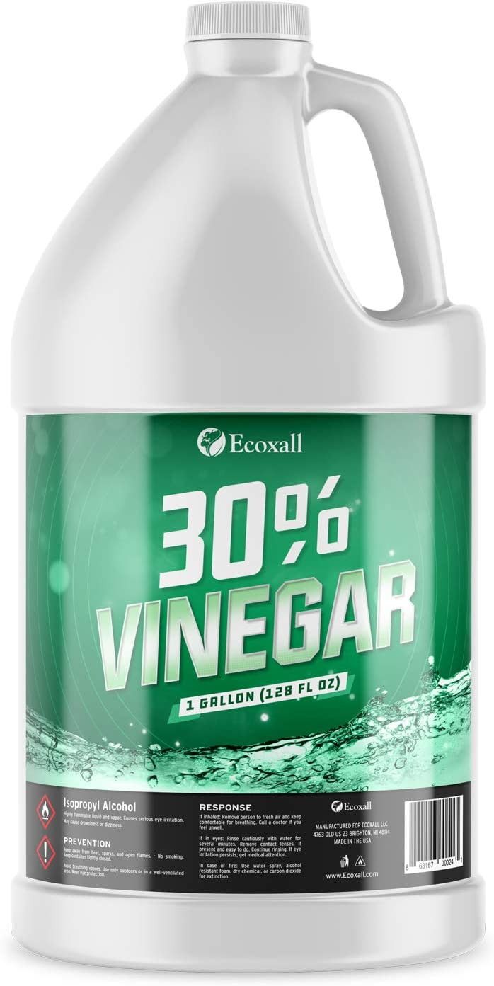 Premium Grade - 30% Pure Vinegar - 1 Gallon - 100% Natural Concentrated Cleaner - 450 Grain - Industrial Strength - Excellent Bleach and Ammonia Alternative - Ecoxall Chemicals