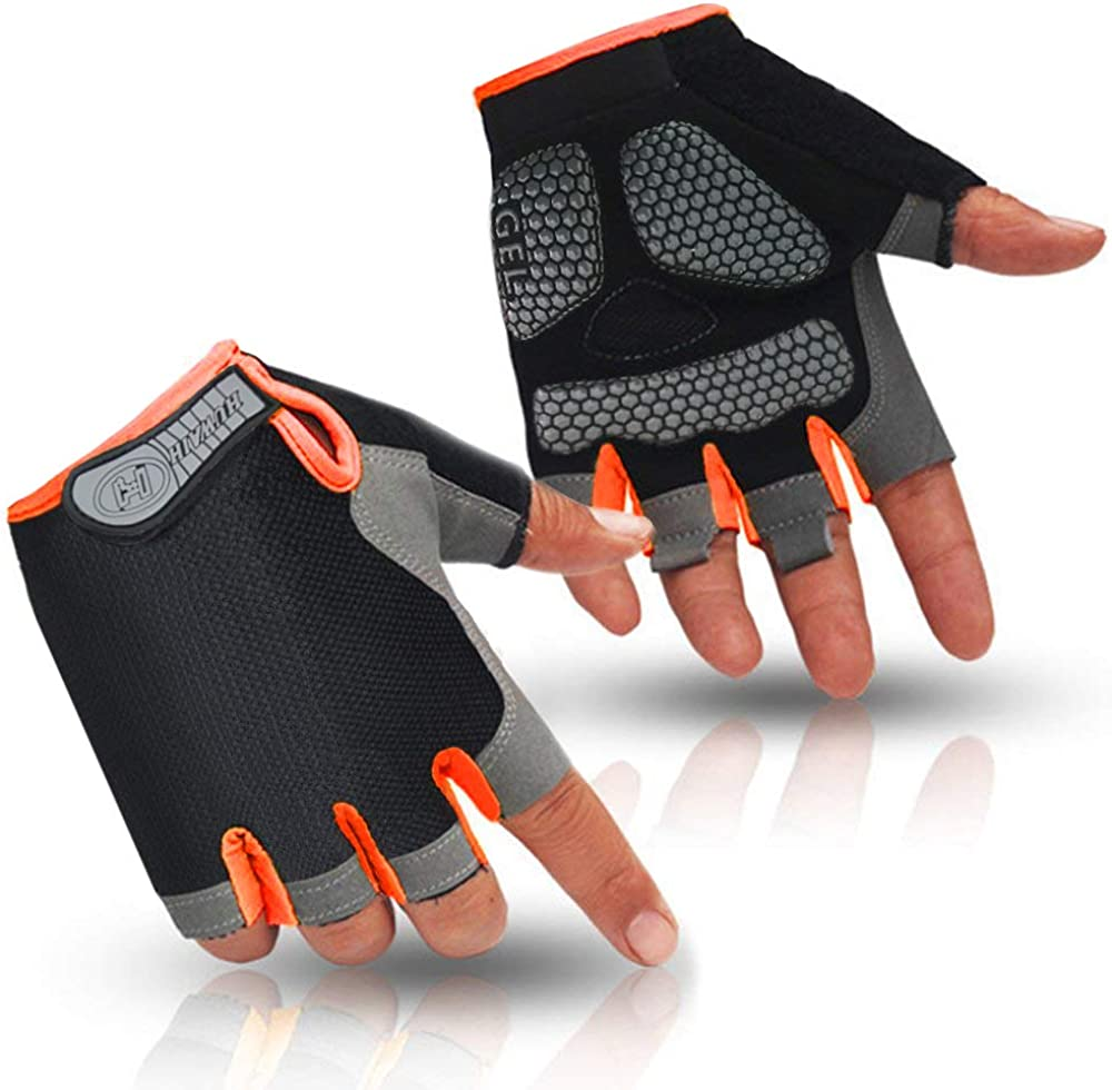 HuwaiH Cycling Gloves Men's/Women's Mountain Bike Gloves Half Finger Biking Gloves Anti Slip Shock Absorbing Gel Pad Breathable Cycle Gloves