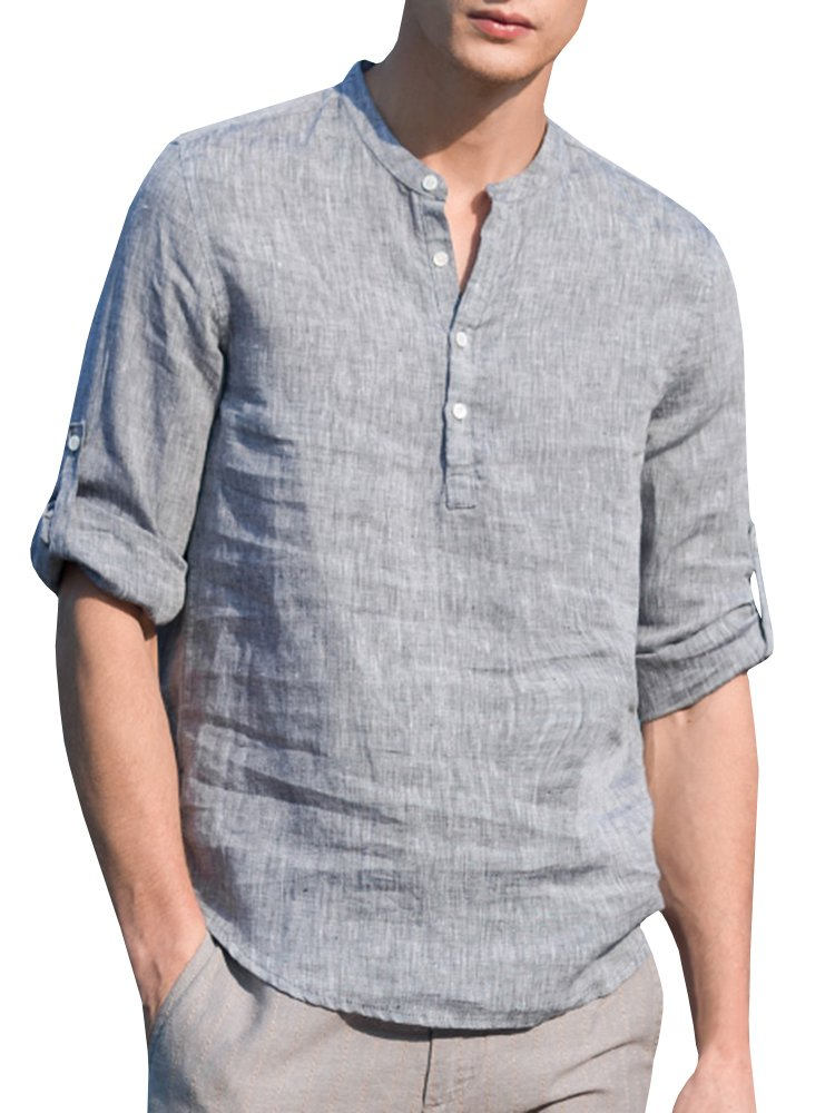 Makkrom Mens Slim Fit Henley Neck Shirts Roll-up Long Sleeve Casual Summer Solid Linen T Shirts