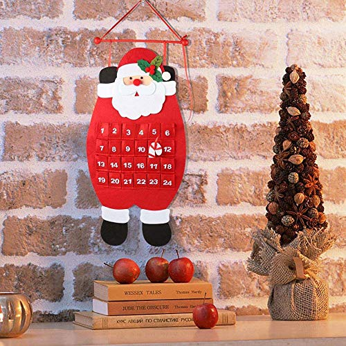 3D Santa Felt Advent Calendar 2019 Countdown to Christmas Calendar Indoor Christmas Decorations