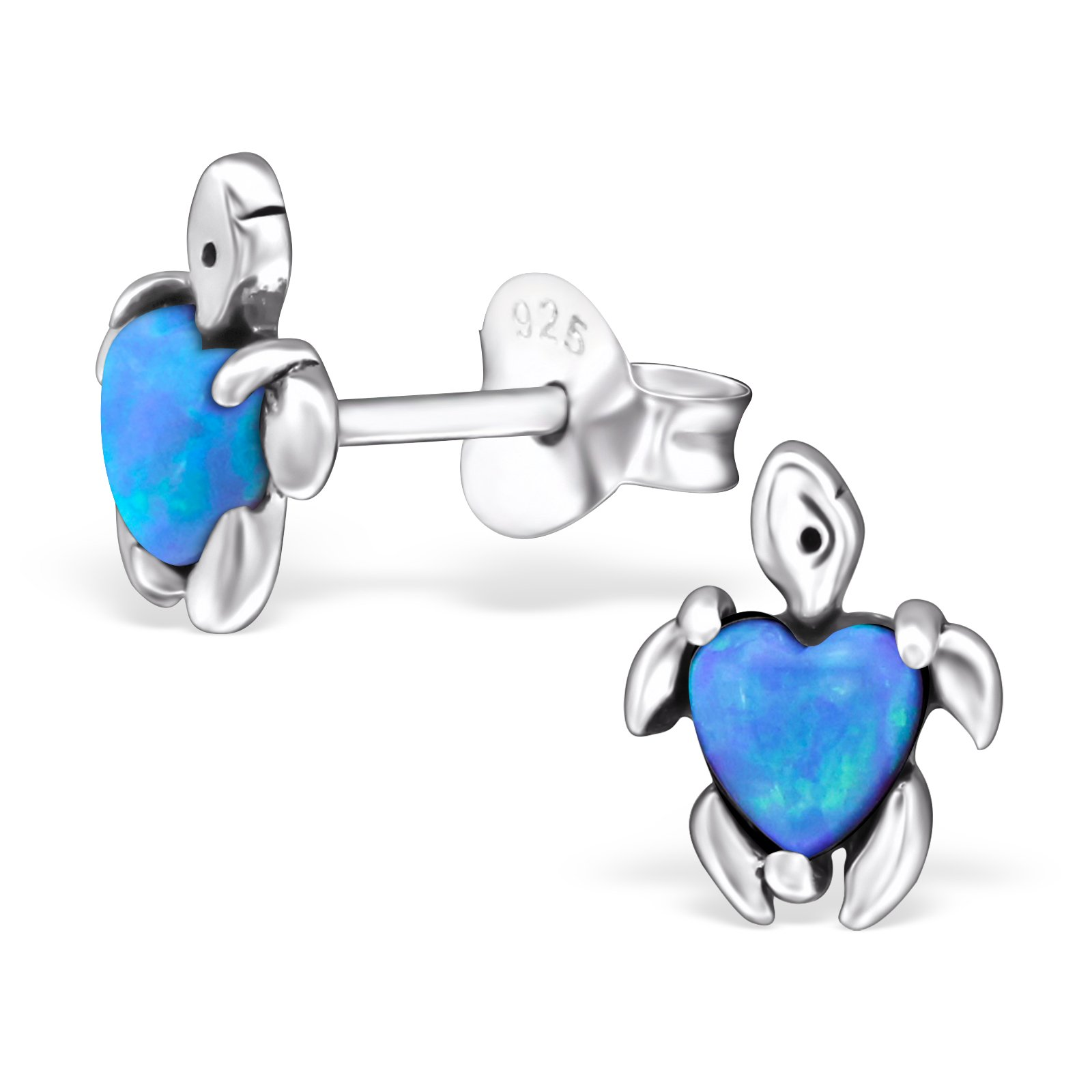 Hypoallergenic Turtle Stud Earrings for Girls (Nickel Free and Safe for Sensitive Ears) - Azure
