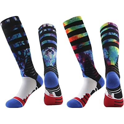 Novelty Athletic Socks, J'colour Unisex Cushioned Basketball Socks Digital Print Knee High Team Sports Socks 1,2,3,6 Pairs