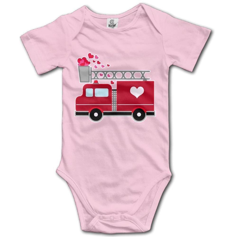 Babys Fire Car Heart Long Sleeve Romper Onesie Bodysuit Jumpsuit