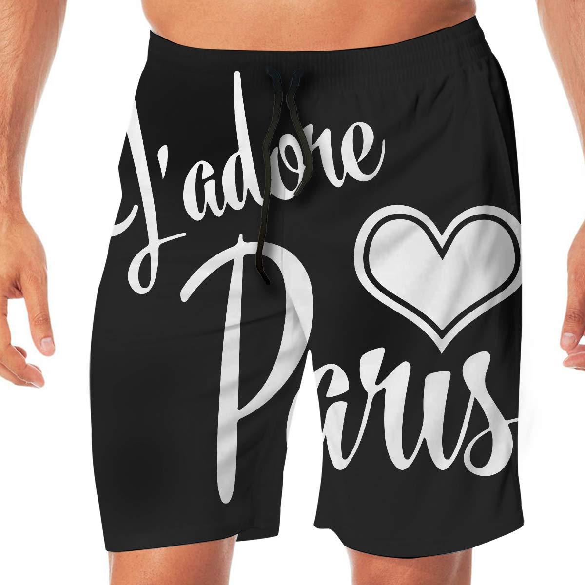 Mens I Love Paris Boardshorts Beach Shorts No Mesh Lining