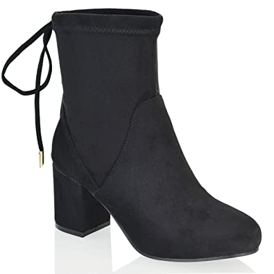 b7a6b3e00c12 ESSEX GLAM Womens Chelsea Low Heel Stretch Faux Suede Ladies Lace Up Pull  On Ankle Boots  Amazon.co.uk  Shoes   Bags