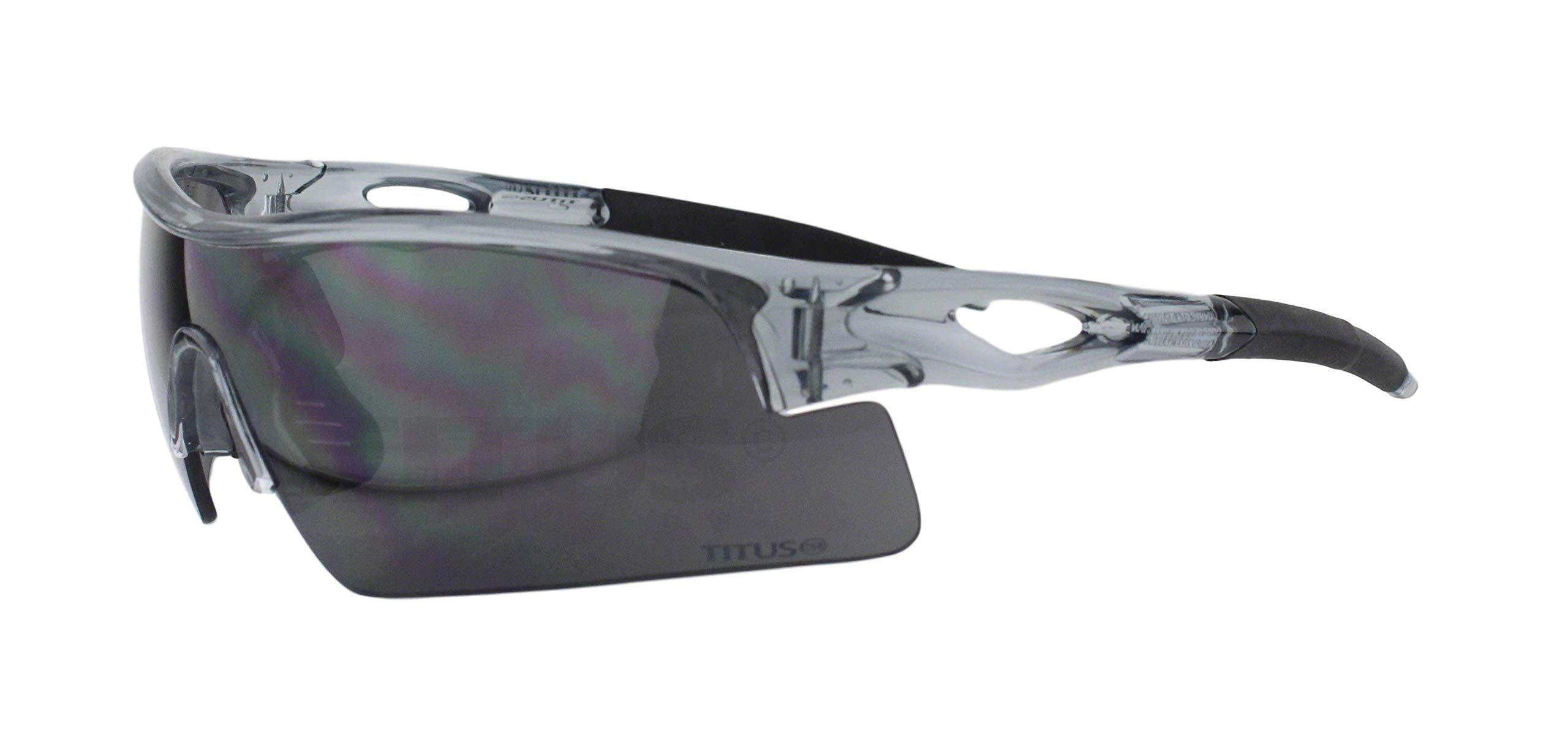 Titus All-Sports Frame Safety Glasses (with Pouch, Grey Frame - Smoke Lens) by Titus