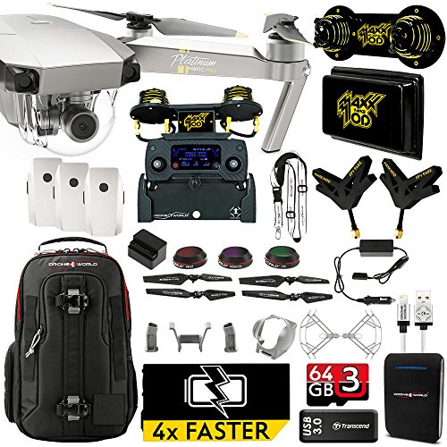 DJI Mavic PRO Platinum MaXX Mod Long Range Kit w/ Backpack, 3 Batteries + Thor Charger, Lens Filters & More by Drone World