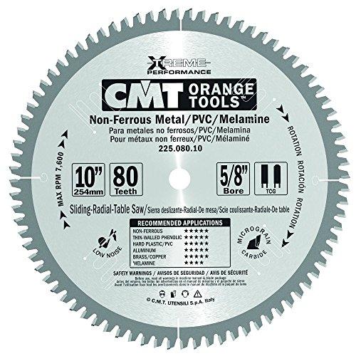 CMT 225.080.10 Industrial Non-Ferrous Metal, PVC & Melamine Saw Blade, 10-Inch x 80 Teeth TCG Grind with 5/8-Inch Bore