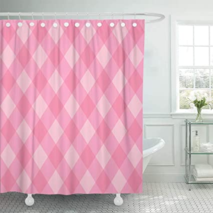Emvency Fabric Shower Curtain With Hooks Pink Check Abstract Pattern Plaid Red Checkered Classic Diagonal