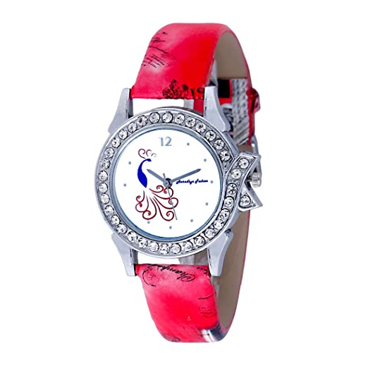 b3f22319355e Buy Aaradhya Fashion Pecock Dial Red Strap Casual Designer Watches for Women  and Girls Online at Low Prices in India - Amazon.in
