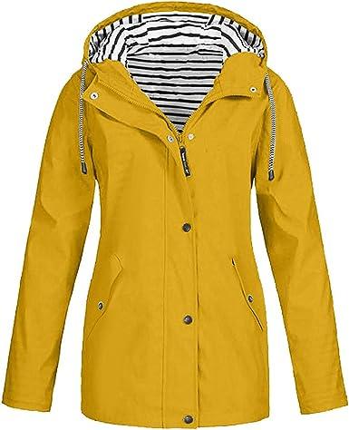 Veste De Pluie Solide Femme Outdoor Plus Size Capuche Imperméable Imperméable Coupe Vent