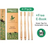 Bamboo Toothbrushes by Auklett, 4 Wooden Toothbrushes, Family Pack of 4-Numbered, Medium Bristles | Recyclable & Biodegradable | BPA Free & Vegan-Friendly | Eco Friendly Gift | Free E-Book