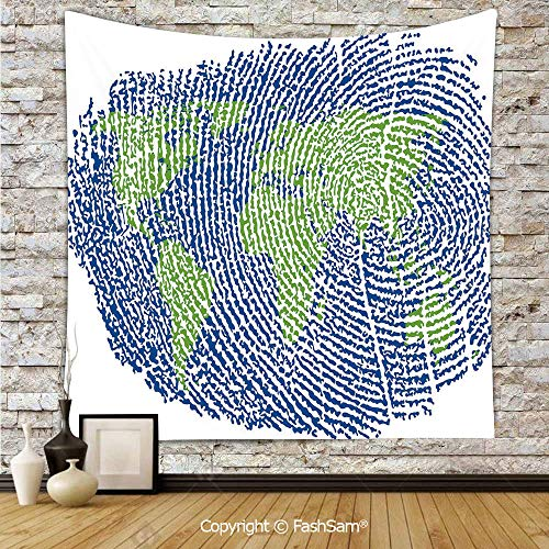 FashSam Polyester Tapestry Wall Map of The World Fingerprint Style Continents Asia Europe Africa America Hanging Printed Home Decor(W59xL90) -