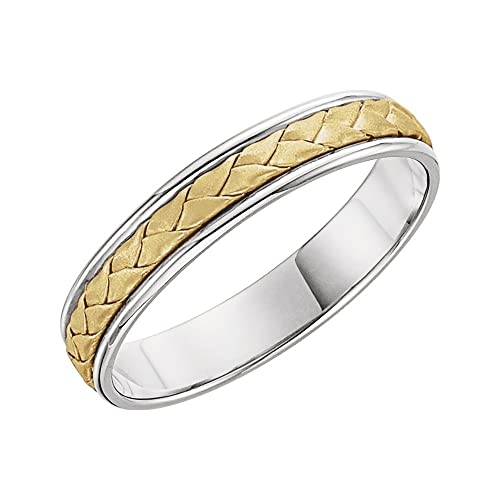 JewelryWeb Anillo de Oro Blanco y Oro Amarillo de 14 Quilates, 4 mm, Talla
