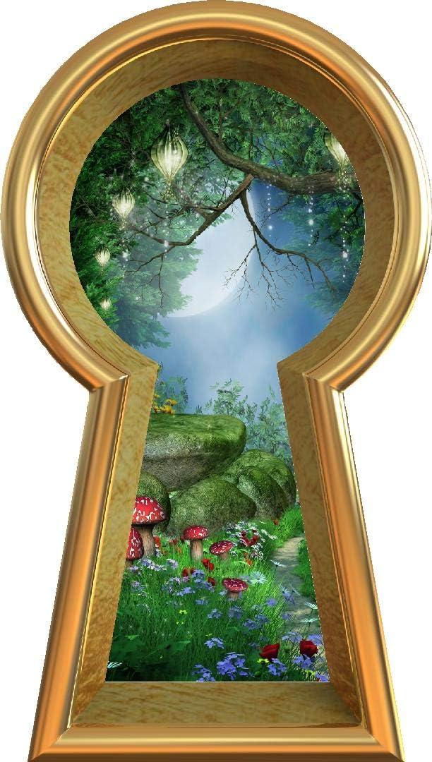 Amazon Com 36 Keyhole 3d Window Wall Decal Enchanted Lantern Forest Alice In Wonderland Kids Room Decor Fantasy Mushroom Fairy Tale Removable Vinyl Wall Sticker 36 Tall X 20 4 Wide Home