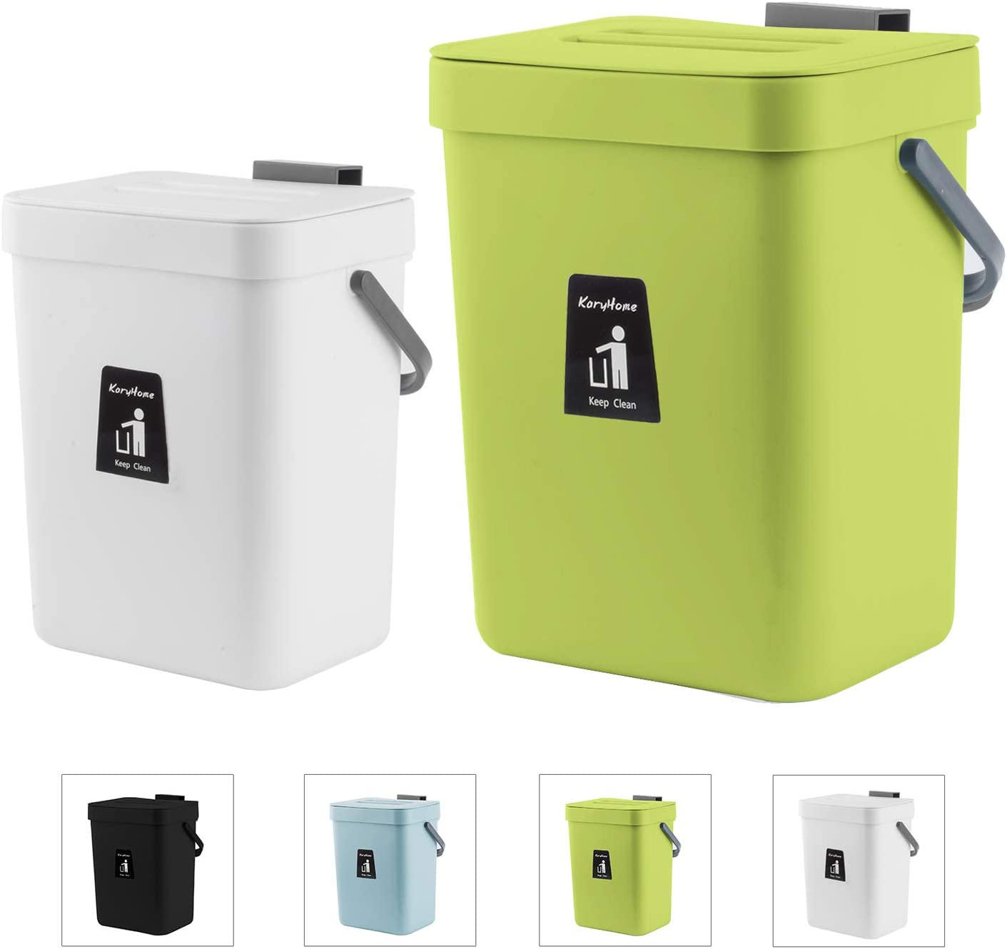 KaryHome Hanging Small Trash Can with Lid Under Sink for Kitchen,Food Waste Bin,Kitchen Compost Bin for Counter Top,2 Pack,Green and White