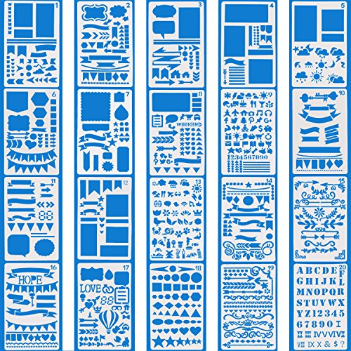 (Vermogen Journal Stencils Set 20 Pcs DIY Drawing Templates for Journal Scrapbook Diary Notebook Over 1000 Different Patterns Plastic Planner Stencil for Painting)