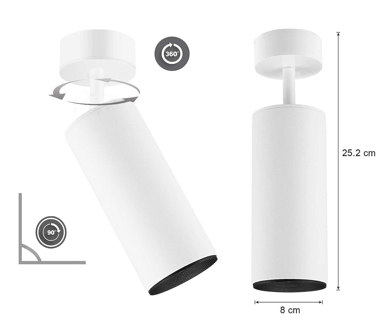 plafón Lámpara Superficie,metal 10w 360° Xodzasg Techo Led,foco Ajustable Con luz Focos Montaje En negro De Aluminio ED9Ib2eWHY