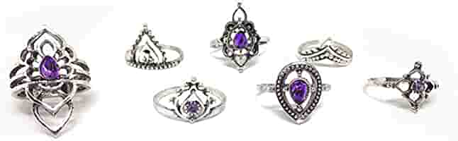 IGOOS Vintage Silver Hollow Out Joint Rings with Purple Rhinestone Crown Ring Drop Ring Follow Ring Joint Ring Set of 7PCS