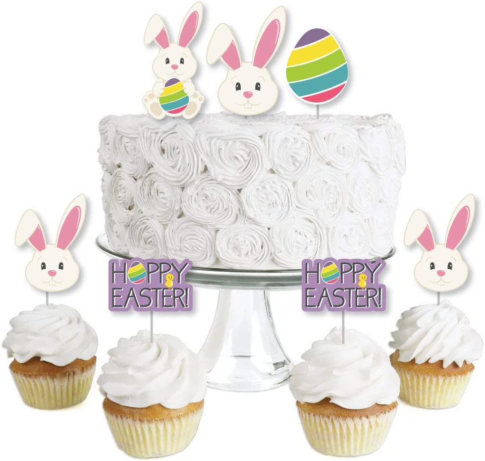 Hippity Hoppity - Dessert Cupcake Toppers - Easter Bunny Party Clear Treat Picks - Set of 24